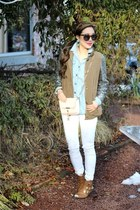 white white Impressions Boutique jeans - camel booties AmiClubWear boots