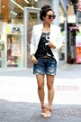 White-bluetique-cheap-chic-blazer-navy-boyfriend-american-eagle-shorts