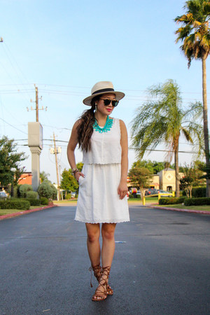 brown Schutz sandals - ivory madewell dress - eggshell Forever 21 hat