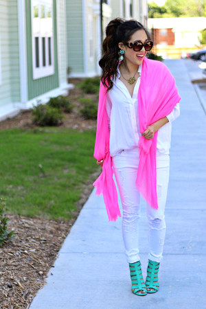 hot pink Target scarf - white Impressions Boutique jeans