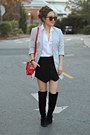 Black-boohoo-boots-white-button-down-boutique-shirt-red-express-bag