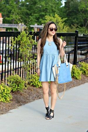 sky blue babydoll Forever 21 dress - sky blue Hayden Harnett bag