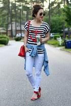 sky blue chambray banana republic shirt - black striped romwe shirt