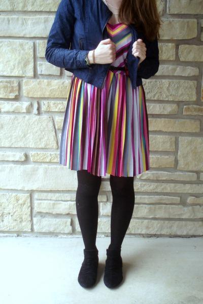 hot pink pleated dress - blue denim Forever 21 jacket