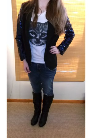 sequined Forever21 blazer - Bongo boots - Threadless t-shirt - kohls necklace