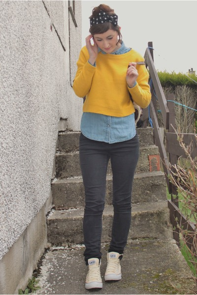 yellow cropped jumper H&M jumper - sky blue denim shirt Peacocks shirt