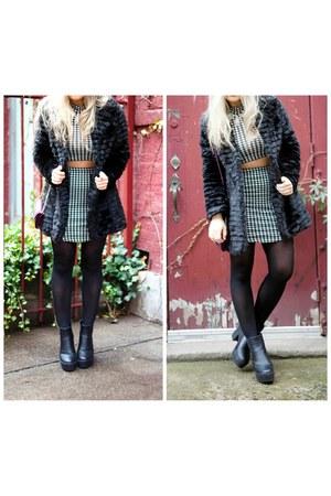 black Boohoo shirt - Boohoo boots - Boohoo coat - Boohoo skirt