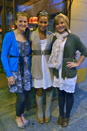 tan knee high socks - ivory dress - tan Macys cardigan - olive green belt