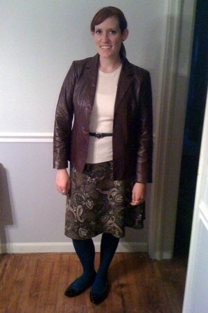 izaac mizrahi for target sweater - thrifted jacket - Gap belt - JC Penney skirt