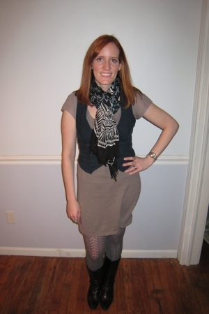 Target scarf - bitten vest - Target dress - TJ Maxx stockings - Aldo boots