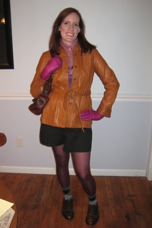 thrifted jacket - portolano gloves - B Makowsky purse - thrifted dress - Target