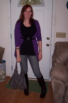 JC Penney sweater - H&M blouse - simply vera wang belt - Old Navy jeans - Frye b