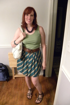 thrifted necklace - fortuna valentino blouse - thrifted belt - thrifted skirt -