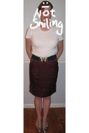 Target sweater - vintage belt - BCBG skirt - payless shoes