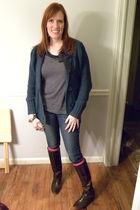 brown Frye boots - pink Target socks - blue Old Navy jeans - blue Target cardiga