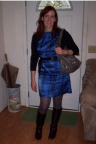 black Old Navy cardigan - blue Target dress - black simply vera wang belt - gray