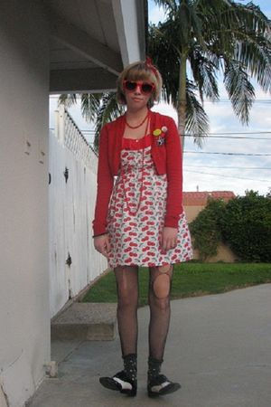 red Asiajam dress - red sweater - black tights - black Forever 21 shoes - black