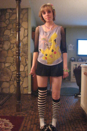 yellow Pokemon shirt - black Forever 21 shorts - black socks - blue socks