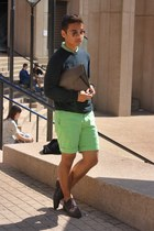 lime green shorts JCrew shorts - dark brown brogues Locale shoes