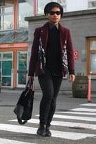 black black H&M hat - maroon American Apparel blazer - black velvet Esprit bag