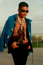 sky blue H&M coat - beige Mango shirt - black Hermes scarf