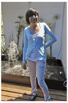 light pink jeans - aquamarine swimwear - white t-shirt