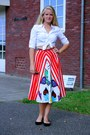 White-cotton-second-hand-blouse-red-patent-pleater-thrifted-belt
