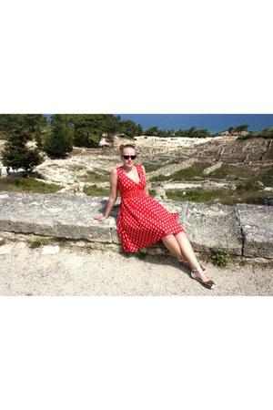 black TOMS sunglasses - red second hand dress - black LK Bennett sandals