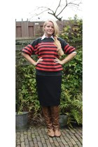 red Episode jumper - tawny knee high no brand boots
