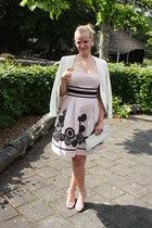 cream thrifted vintage purse - light pink a-line warehouse dress