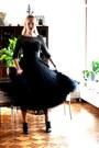 Black-lace-tea-length-vintage-dress-black-cotton-striped-secondhand-h-m-shirt