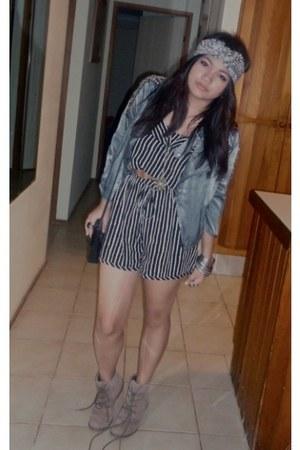 taupe boots Miss Shop boots - Valley Girl dress - Dotti blazer - bag - bag - bel
