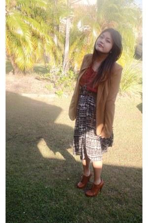 brown Temt blazer - Sports Girl skirt - maroon Temt blouse