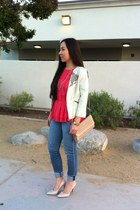 ripped Joes Jeans jeans - Poleci jacket - woven f21 bag