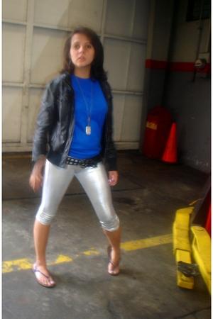 leggings - blouse - belt - jacket -