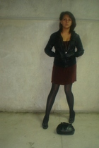 dress - jacket - tights - shoes - purse
