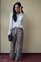 dark khaki thrifted pants - black MNG bag - white thrifted blouse