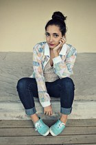 unknown jeans - vintage jacket - unknown blouse - Keds sneakers