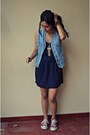 Navy-gap-dress-sky-blue-thrifted-vest-brick-red-all-stars-sneakers