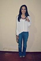 white Forever 21 blouse - dark khaki Steve Madden boots