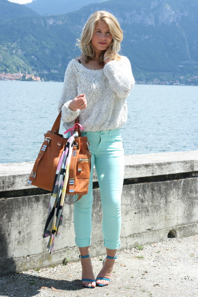 aquamarine asos jeans - white American Apparel sweater - brown Michael Kors bag