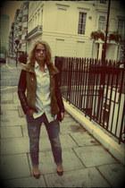 gray Zara jeans - olive green Zara jacket - black Christian Louboutin heels