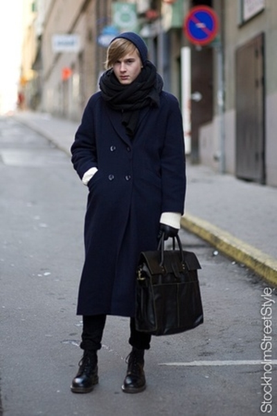 Filippa K hat - vintage coat - Dr Martens shoes