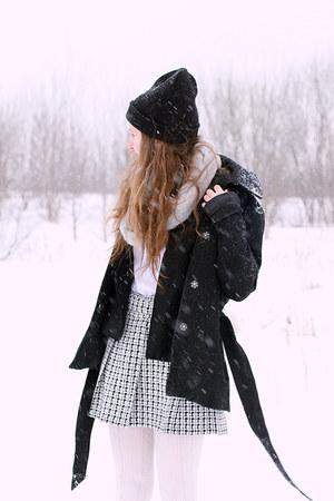 black Vero Moda coat - hat - silver Primark scarf - Primark cardigan