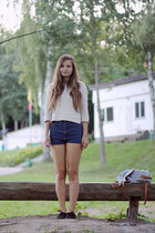 fabric Primark shoes - denim charity shop shorts - H&M Trend blouse