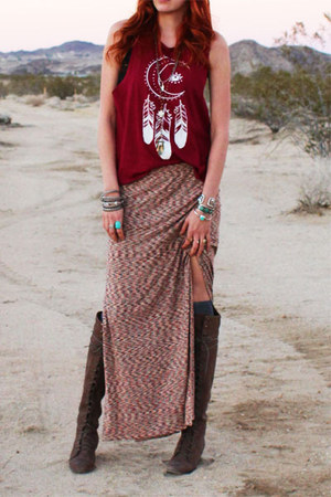 red desert dreamer Gypsan skirt - dark brown joe lace up free people boots