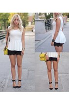 white peplum Zara top - black Zara shoes - yellow Mango purse