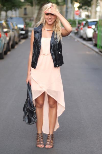 black leather H&M vest - peach OASAP dress