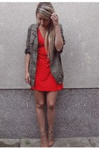 red Topshop dress - army green jacket - beige Zara wedges