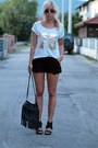 Black-hm-bag-black-lace-shorts-black-heels-white-new-yorker-t-shirt